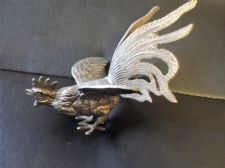 "SUPERB VINTAGE SILVER TONE VERY DETAILED CAST COCKEREL ORNAMENT ITALY 5"" HIGH"